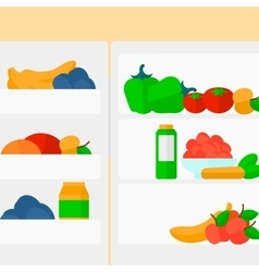 Background of refrigerator full of fruits and vector