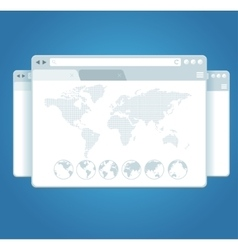 Browser windows and world map vector