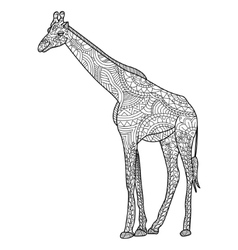 Giraffe coloring for adults vector