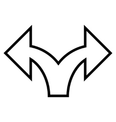 Split arrow left right contour icon vector