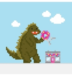 Big cartoon dinosaur attacking donut cafe vector