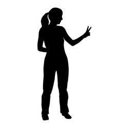 Silhouette of woman with hand sign vector image