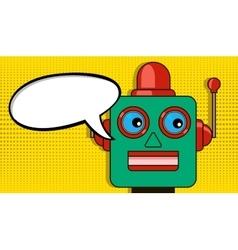 Pensive robot pop art style drawing blank vector