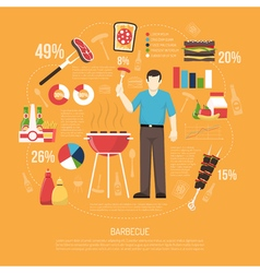 Barbecue infographics flat layout vector