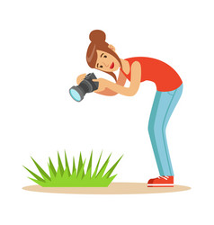 beatuful woman taking picture of green grass with vector image vector image