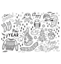 black and white winter print in cartoon style vector image vector image