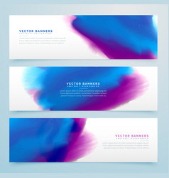 blue and purple watercolor header banners vector image