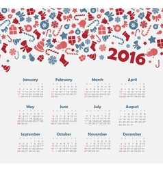 Calendar for 2016 with christmas pattern vector