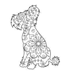 Chinese crested dog coloring antistress vector