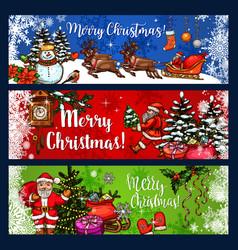 christmas sketch banner for winter holidays design vector image