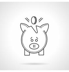 Deposit pig flat line icon vector image vector image