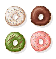 Donuts set Isolated on white vector image vector image