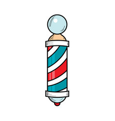 Drawing of barber pole sign used by barbershops vector