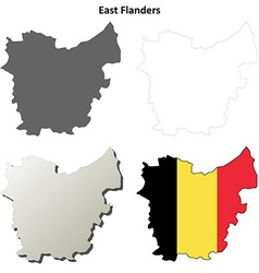 East flanders outline map set - belgian version vector