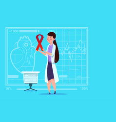 Female doctor hold cancer ribbon disease vector
