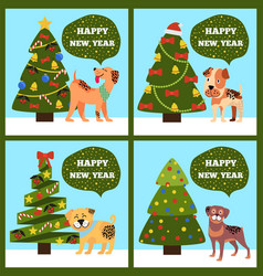 festive cards on green merry wish puppy tree set vector image vector image