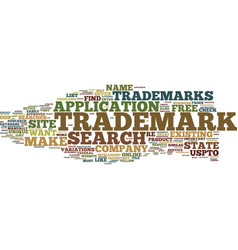 free trademark search text background word cloud vector image vector image