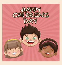 Happy children day card cute faces kids smiling vector