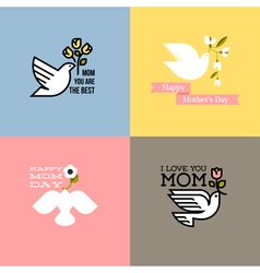 happy mothers day cards with dove and flowers vector image vector image
