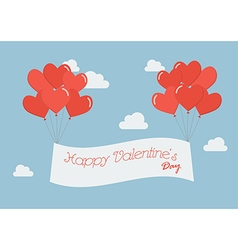 Heart balloons with Happy Valentines Day banner vector image