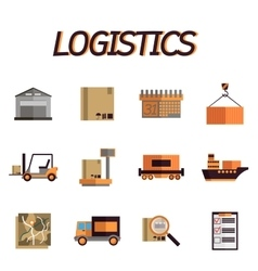 Logistic flat icon set vector image