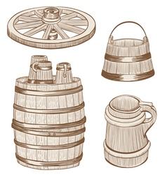 Old wooden mugs bucket vector