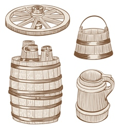 old wooden mugs bucket vector image