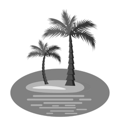 Palm trees on island icon gray monochrome style vector