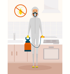 pest control service worker in chemical protective vector image vector image