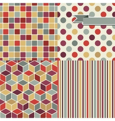 Retro Seamless Pattern Set vector image vector image
