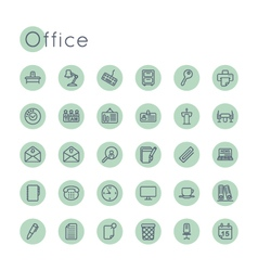 Round office icons vector