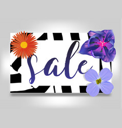 Sale banner with summer flowers and zebra vector