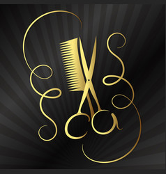 Scissors and comb for beauty salon vector
