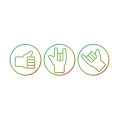 Set of hand gestures Thunb up rock on hang vector image vector image