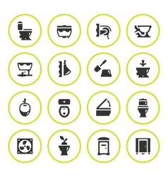 Set round icons of toilet vector