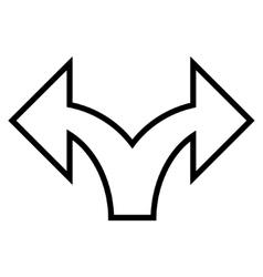 Split arrow left right contour icon vector