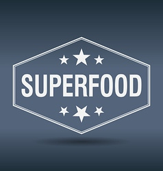 Superfood hexagonal white vintage retro style vector