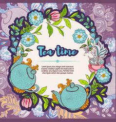 Tea time design banner templates card vector