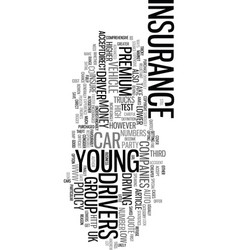 Young driver car insurance text word cloud concept vector