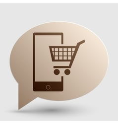 Shopping on smart phone sign brown gradient icon vector