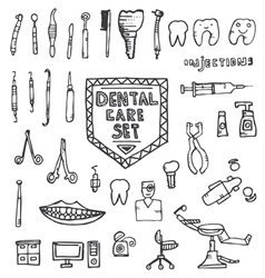 Dental Care Set with Different Hand Drawn Icons vector image