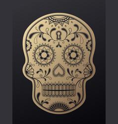 Sugar skull day of the dead golden vector
