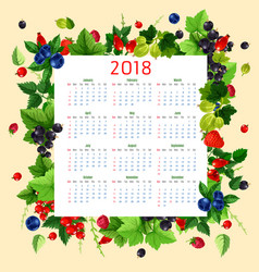 Calendar 2018 of fresh berries and fruits vector
