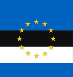 Estonia national flag with a star circle of eu vector