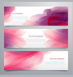 Pink watercolor banners set template vector