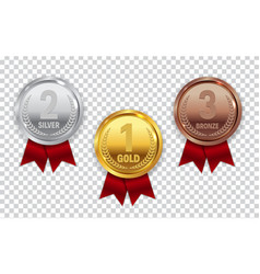Champion gold silver and bronze medal with red vector