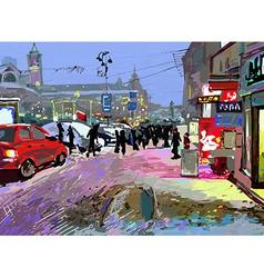 digital art painting of evening winter city landsc vector image