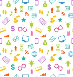 Seamless Pattern with Business and Financial Icons vector image