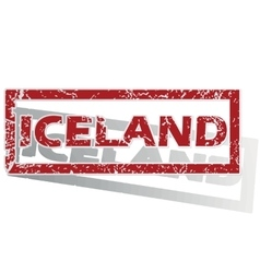 Iceland outlined stamp vector