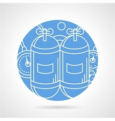 Round blue icon for aqualung vector